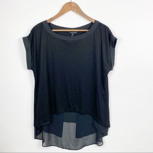 Banana Republic Black Sheer Back Hi Low Blouse
